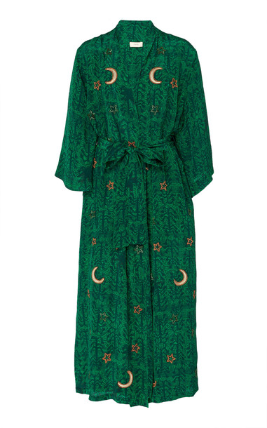 Chufy Kaf Embroidered Wrap Dress Size: XS in green