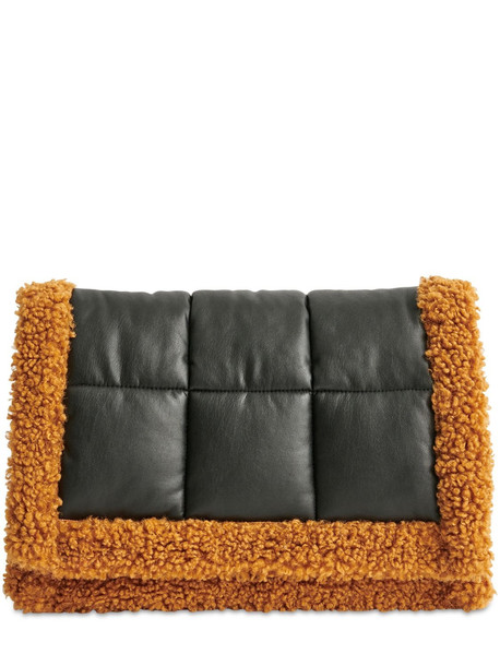 STAND Vivenne Faux Shearling Clutch in black