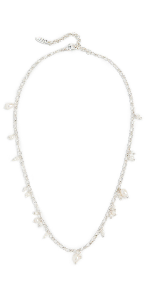 Luv Aj Pearl Drop Charm Necklace in silver
