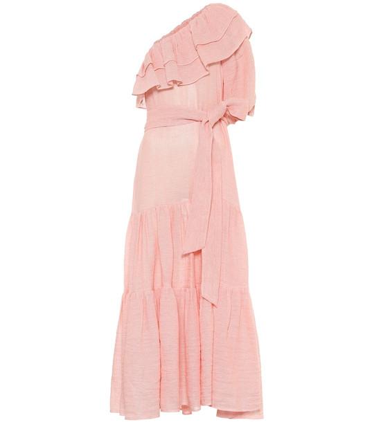 Lisa Marie Fernandez Arden linen-blend gauze maxi dress in pink