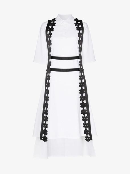 Paskal Short-sleeved asymmetric hem cotton blend midi dress in black / white
