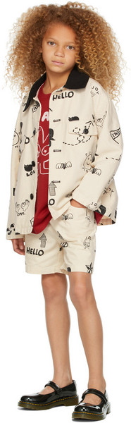 Jellymallow Kids Off-White Graffiti Shorts in cream