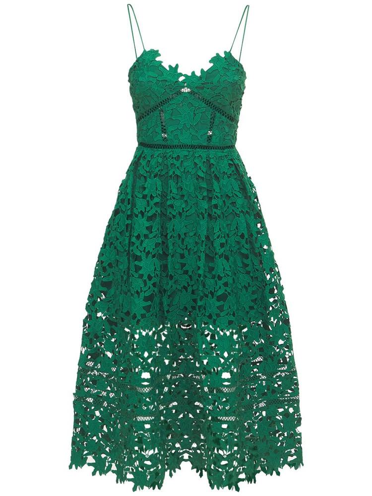 SELF-PORTRAIT Azalea Lace Midi Dress in green