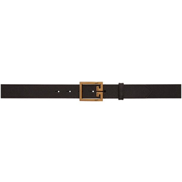 Givenchy Black and Gold Leather 4G Belt