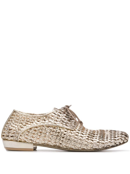 Marsèll metallic woven lace-up shoes in gold