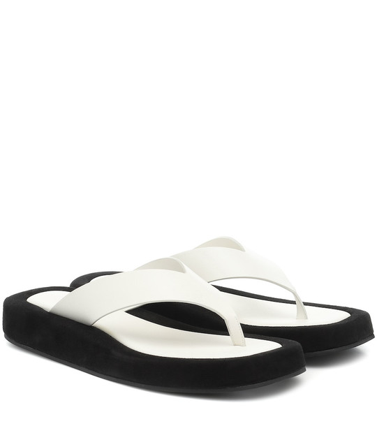 The Row Ginza leather platform slides in white