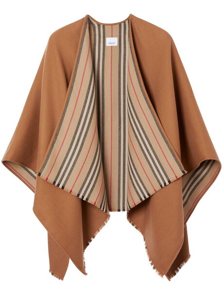 Burberry Icon stripe detail wool cape in brown