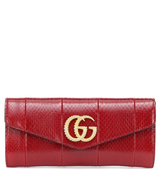 Gucci Broadway snakeskin clutch in red