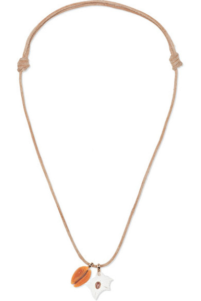 Dezso by Sara Beltrán - Leather And 18-karat Rose Gold Multi-stone Necklace