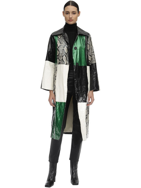 STAND Nino Patchwork Faux Leather Trench Coat in green / white