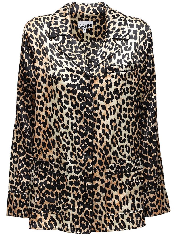 GANNI Leopard Print Stretch Silk Satin Shirt