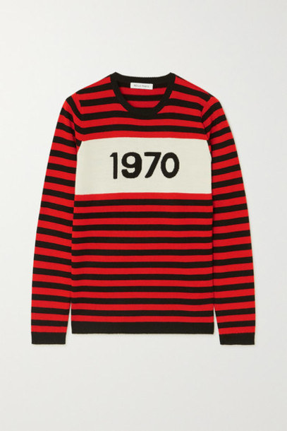 Bella Freud - 1970 Striped Merino Wool Sweater - Red