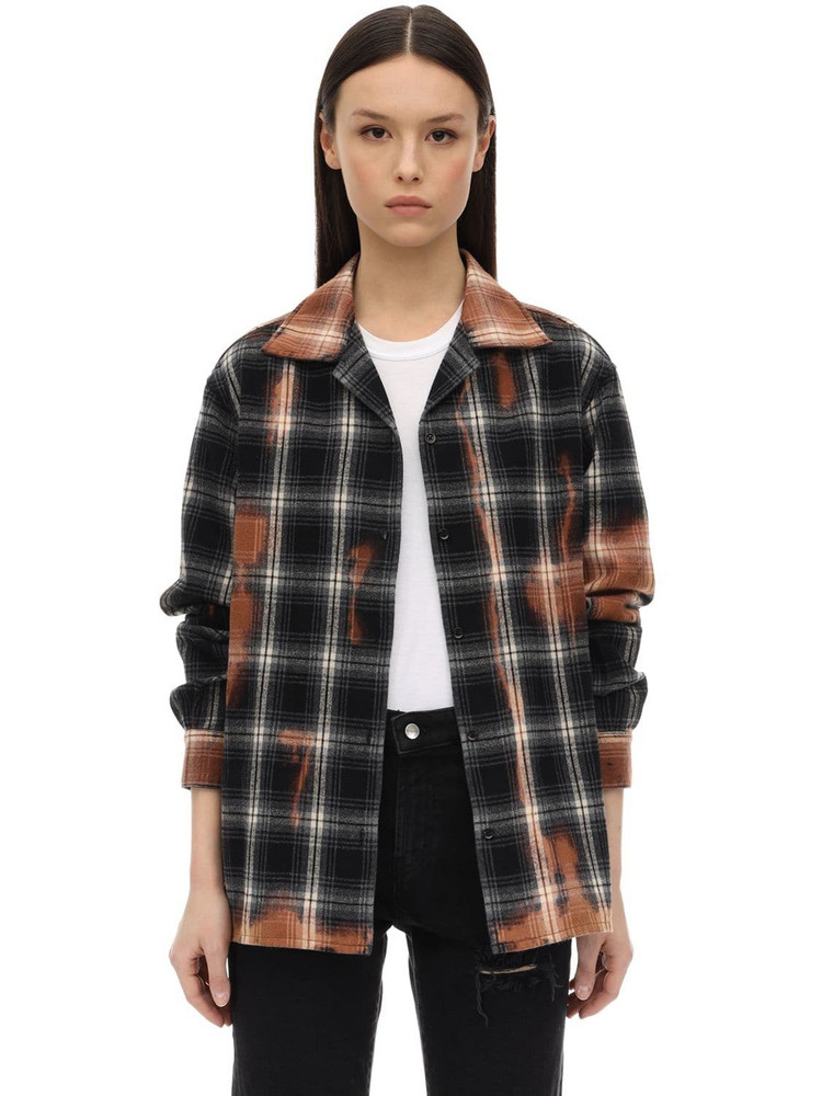 REPRESENT Check Cotton Flannel Shirt in black / brown