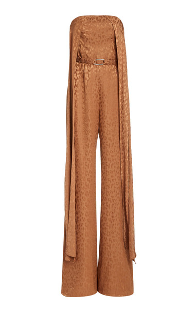 Alexis Romani Draped Crepe Jumpsuit in brown