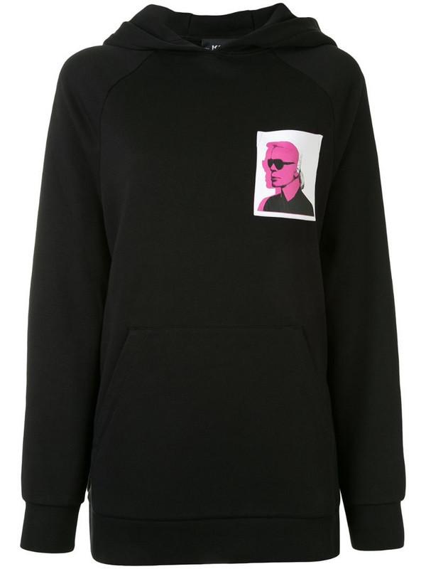 Karl Lagerfeld Karl legend print hoodie in black