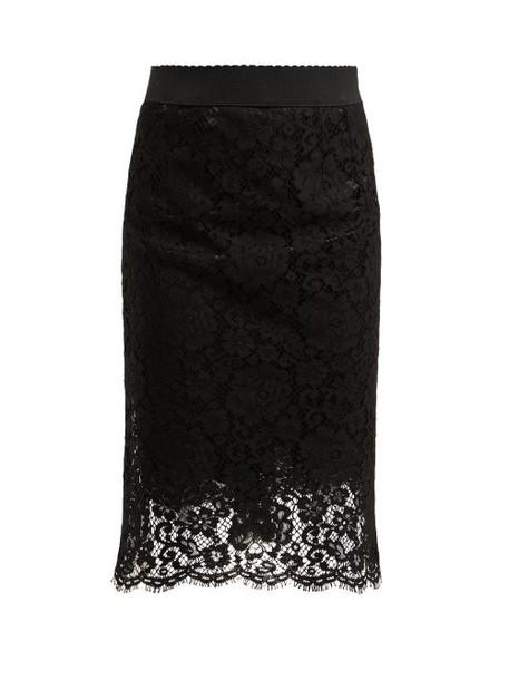 Dolce & Gabbana - Floral Lace Pencil Skirt - Womens - Black