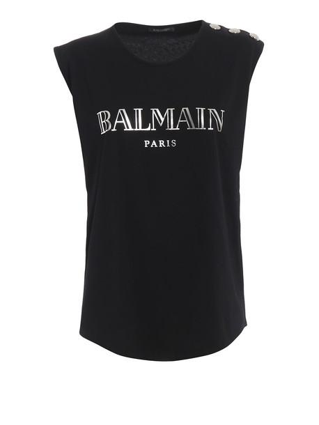 Balmain Silver-tone Logo Print Black Cotton Tank Top Rf01162i170eac