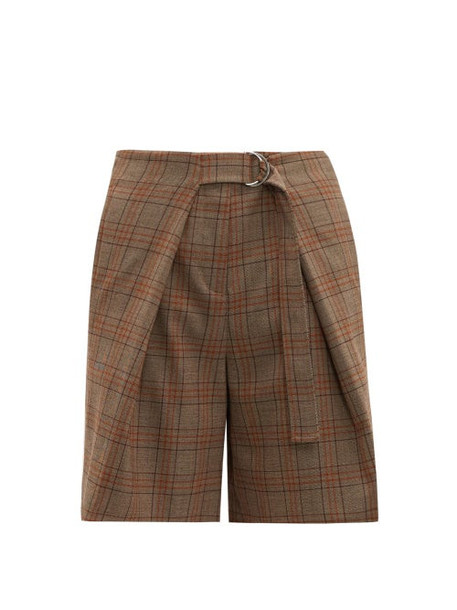 Tibi - James Belted Checked Shorts - Womens - Brown