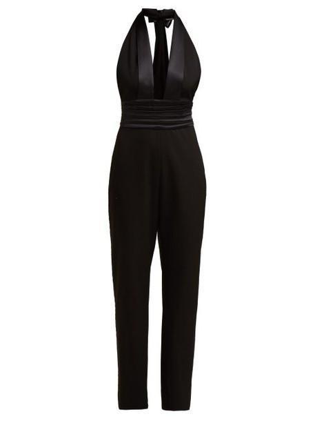 Dundas - Plunge Neck Wool Blend Crepe Jumpsuit - Womens - Black