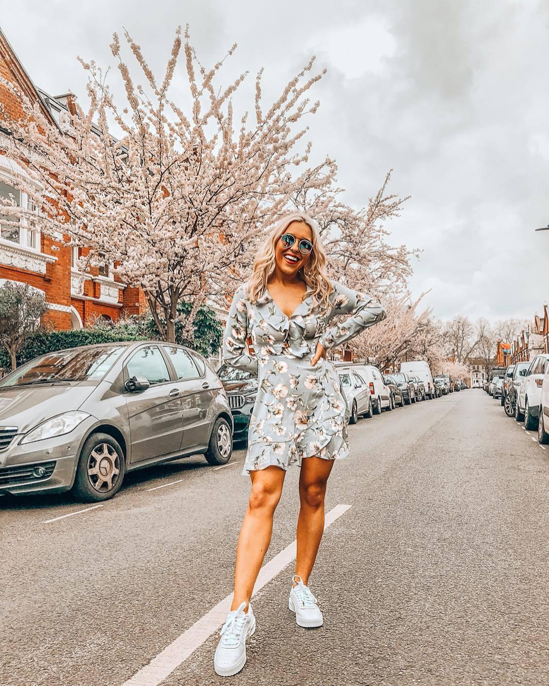 dress wrap dress floral dress blue dress mini dress white sneakers