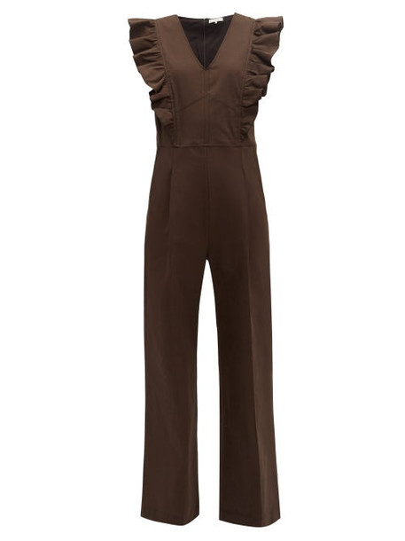 Sea - Stevie Ruffled Cotton Blend Jumpsuit - Womens - Brown