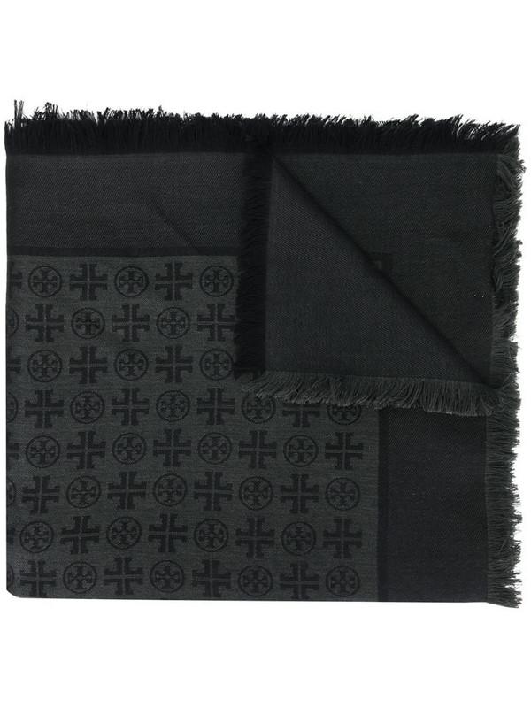 Tory Burch logo jacquard scarf in black