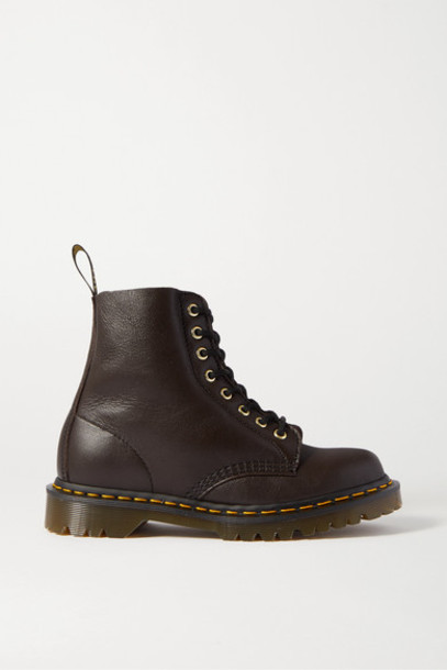 Dr. Martens - 1460 Pascal Shearling-lined Textured-leather Ankle Boots - Dark brown