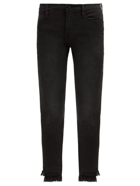 Frame - Le High Fringed Cuff Skinny Jeans - Womens - Black