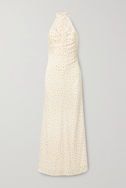 STAUD - Coastal Ruched Fil Coupé Georgette Halterneck Maxi Dress - Off-white
