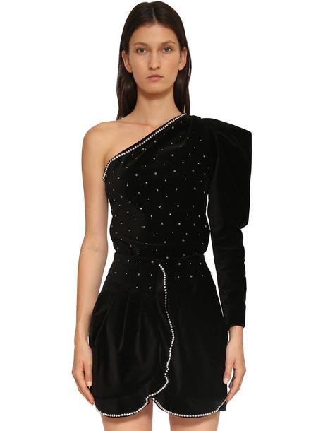 ISABEL MARANT Zeke Embellished Velvet Top in black