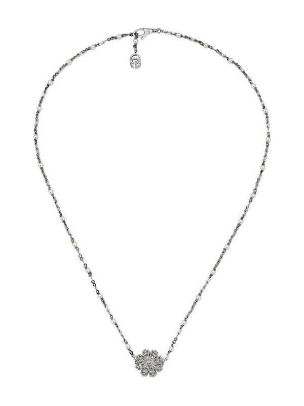 Gucci Necklace with flower, diamonds and pearls in silver