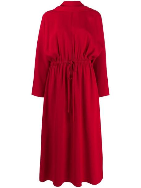 Valentino scarf detail midi dress in red