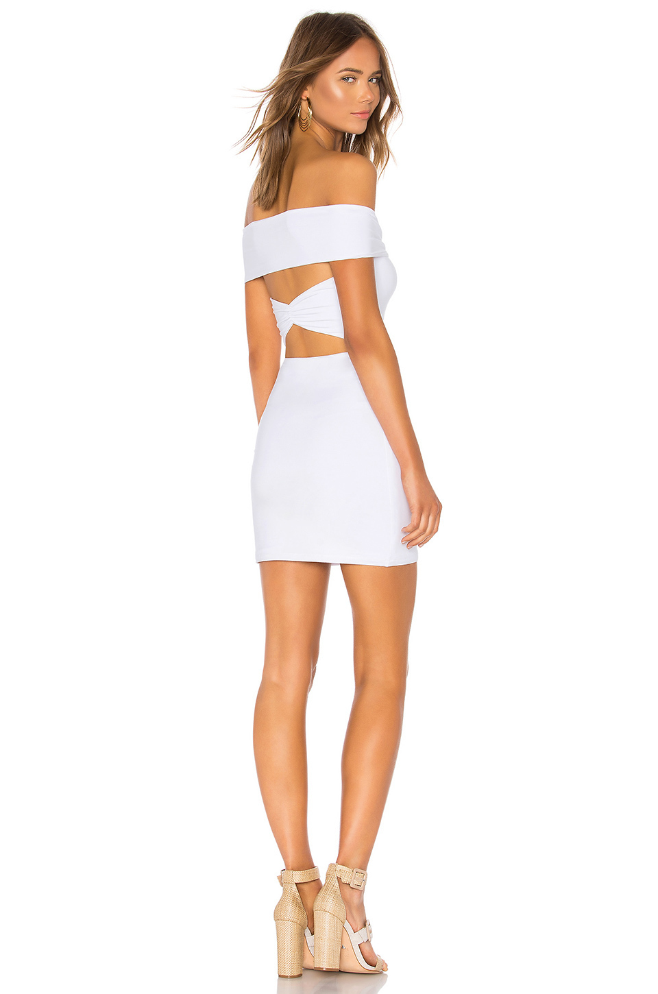 dress white tight bodycon ruched strap fold over sleeveless cut-out