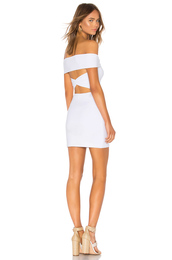 dress,white,tight,bodycon,ruched strap,fold over,sleeveless,cut-out