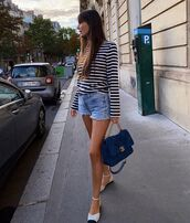 top,striped top,black and white,ballet flats,chanel bag,denim shorts