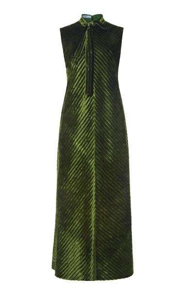 Prada Metallic Scarf Neck Midi Dress Size: 44 in green