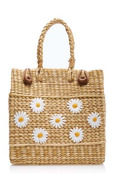 Poolside Le Cercle Floral-Embroidered Reed Bag in print