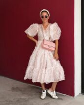 dress,midi dress,puffed sleeves,ruffle dress,sneakers,chanel bag