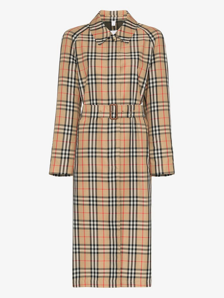 Burberry belted vintage check trench coat in brown