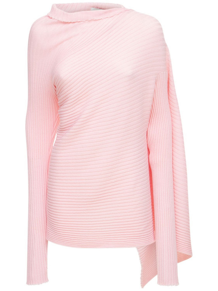 MARQUES'ALMEIDA Draped Wool Knit Turtleneck Sweater in pink