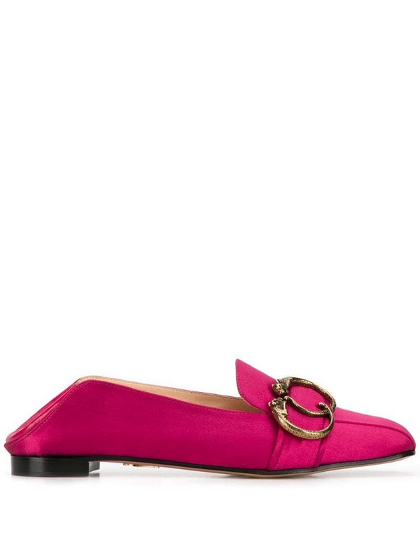 Charlotte Olympia panther buckle loafers in pink