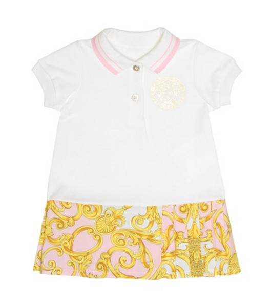 Young Versace Cotton dress and bloomers set in pink