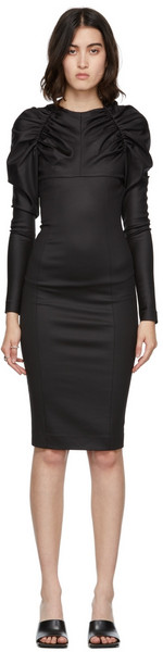 We11done Gathered Detail Dress in black