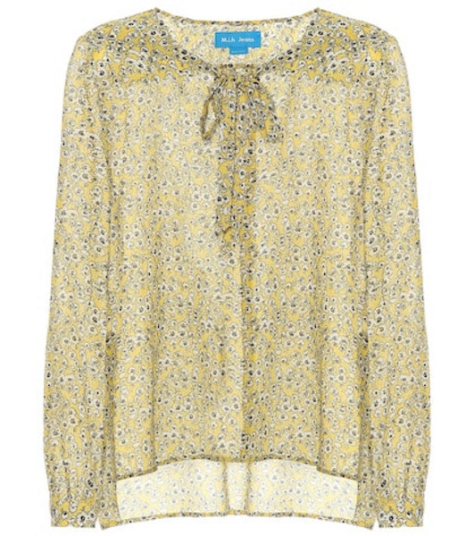 M.i.h Jeans Alma floral-printed silk shirt in yellow