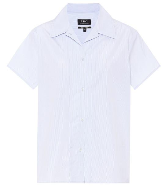A.P.C. Striped cotton-poplin shirt in blue