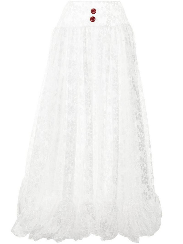yuhan wang lace-panelled pleated skirt in white