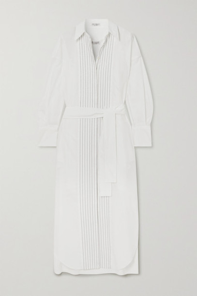 Brunello Cucinelli - Belted Bead-embellished Cotton-poplin Midi Shirt Dress - White