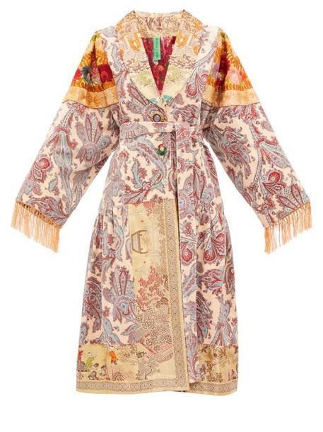 Rianna + Nina Rianna + Nina - Vintage Patchwork Embroidered Velvet Robe Coat - Womens - Black Multi