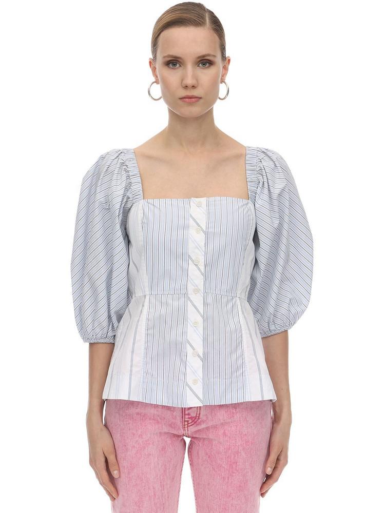 GANNI Striped Cotton Poplin Corset Shirt in blue / white