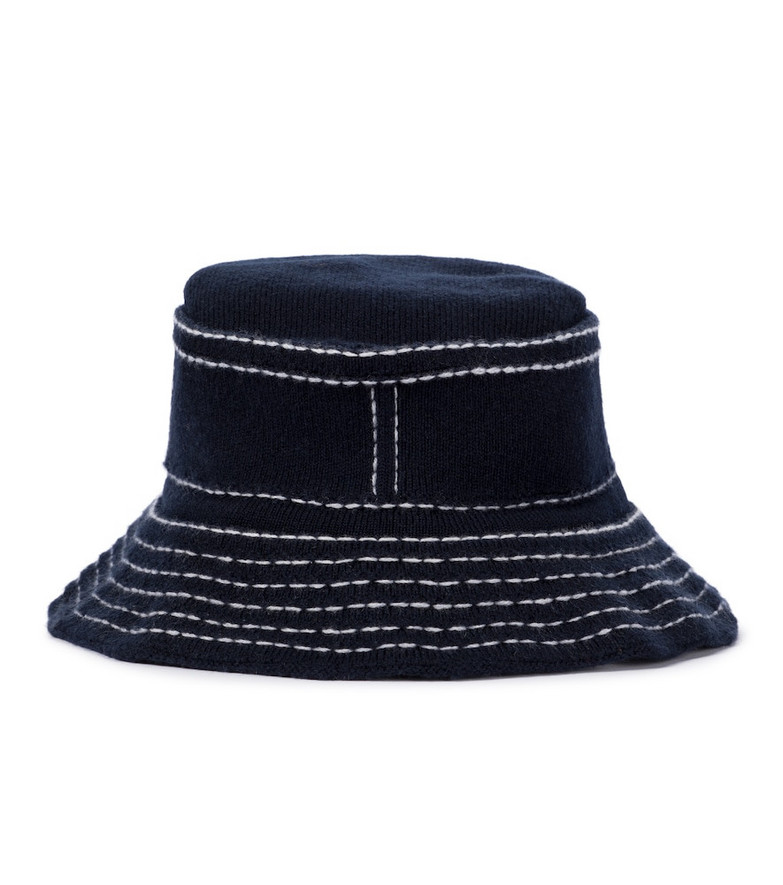 Barrie Cashmere and cotton bucket hat in blue
